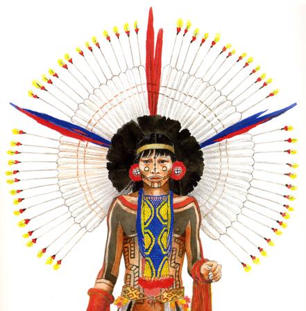 Jovem Karajá iniciado na vida adulta vestindo adornos tradicionais. Arte: Winfield Coleman.